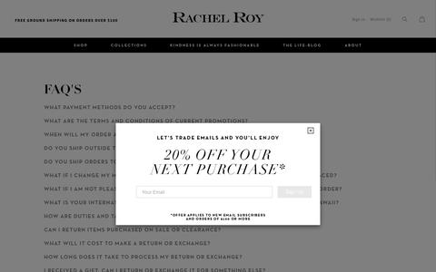 Screenshot of FAQ Page rachelroy.com - FAQ's                      – Rachel Roy - captured Nov. 6, 2018
