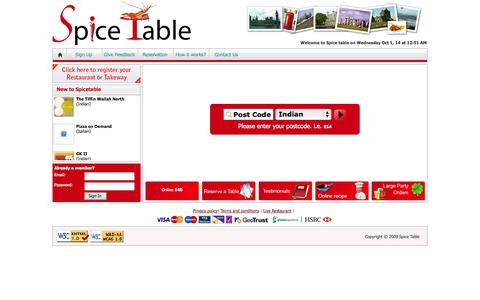 Screenshot of Home Page spicetable.com - Spice Table :: Restaurant and takeaway search for your local food deliveries online - captured Oct. 1, 2014