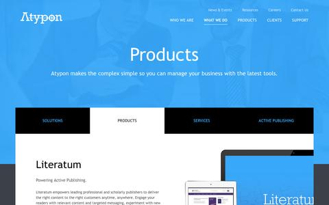Screenshot of Products Page atypon.com - Products | Atypon Systems, Inc. - captured July 27, 2016