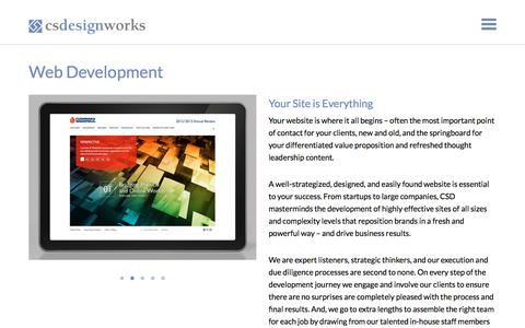 Screenshot of Services Page csdesignworks.com - Web Development, Marketing, Motion Graphics and Promotions in NYC - captured July 15, 2018