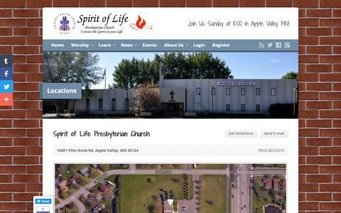 Screenshot of Locations Page spiritoflifeav.org - Locations - Spirit of Life Presbyterian Church - captured Oct. 19, 2018