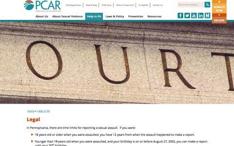 Screenshot of Terms Page pcar.org - Legal   Pennsylvania Coalition Against Rape (PCAR) - captured Jan. 26, 2016