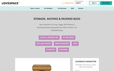 Screenshot of Blog lovespace.co.uk - Storage, Moving & Packing Tips, News & Advice | LOVESPACE - captured Aug. 21, 2019