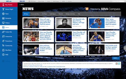 Screenshot of Press Page mavs.com - The Official News Source of the Dallas Mavericks - captured Sept. 19, 2014