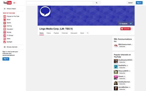 Screenshot of YouTube Page youtube.com - Lingo Media Corp. (LM: TSX.V)  - YouTube - captured Oct. 23, 2014