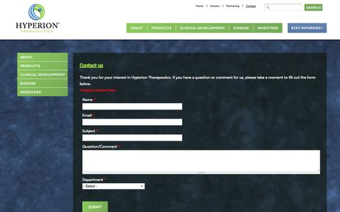 Screenshot of Contact Page hyperiontx.com - Company Contact Information | Hyperion Therapeutics - captured Sept. 16, 2014