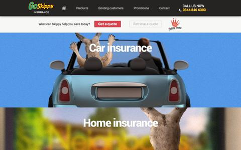 Screenshot of Products Page goskippy.com - GoSkippy Offers A Range Of Insurance Products - captured Jan. 18, 2016