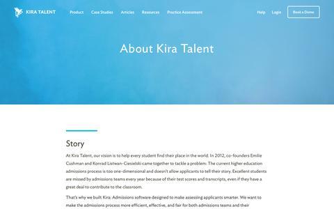 Screenshot of About Page kiratalent.com - About Kira Talent | Video Admissions Platform - captured Nov. 19, 2017