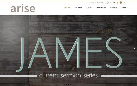 Screenshot of Home Page arise2life.com - ARISE Church: Cloquet, MN - captured Sept. 23, 2016