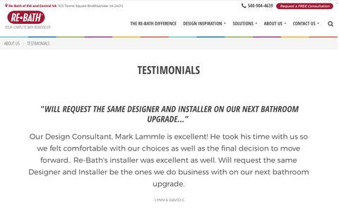Screenshot of Testimonials Page rebath.com - Testimonials | [SiteProperty:SiteURL] Bathroom Remodeling | About Us - captured Dec. 2, 2016