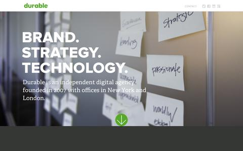 Screenshot of Home Page durabledigital.com - Durable Digital | Brand. Strategy. Technology - captured Aug. 2, 2016