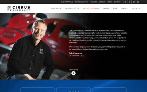 Screenshot of About Page cirrusaircraft.com - Cirrus Aircraft | Our Company - captured July 18, 2018