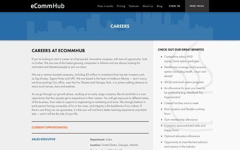 Screenshot of Jobs Page ecommhub.com - Careers   eCommHub - captured Sept. 16, 2014