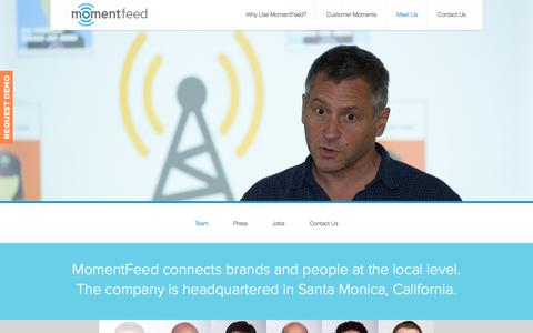 Screenshot of Contact Page Press Page Jobs Page Team Page momentfeed.com - Meet Us - captured Sept. 16, 2014
