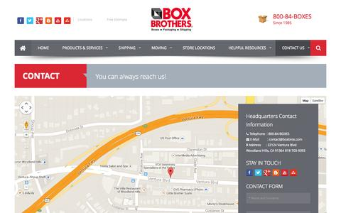 Screenshot of Contact Page boxbros.com - Contact Us For Questions - Box Brothers - captured Sept. 23, 2014