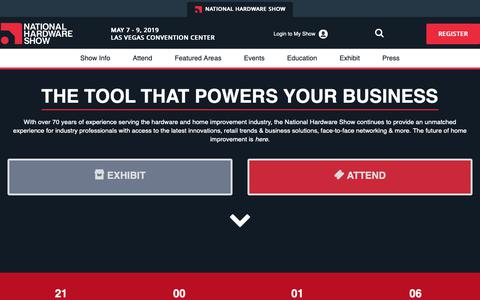 Screenshot of Home Page nationalhardwareshow.com - National Hardware Show, May 8 - 10, 2018 - Las Vegas - NationalHardwareShow - captured Dec. 11, 2018