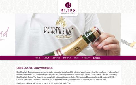 Screenshot of Jobs Page bliss-hospitality.com - Bliss Hospitality Group - Official Site - captured Oct. 5, 2014