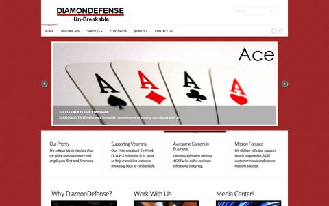 Screenshot of Home Page diamondefense.com - DIAMONDEFENSE | Technology Consulting - captured Sept. 30, 2014