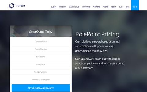 Screenshot of Pricing Page rolepoint.com - Contact RolePoint and Get a Pricing Quote - captured April 12, 2019