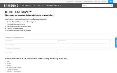 Screenshot of Signup Page samsung.com - Samsung - captured April 1, 2016