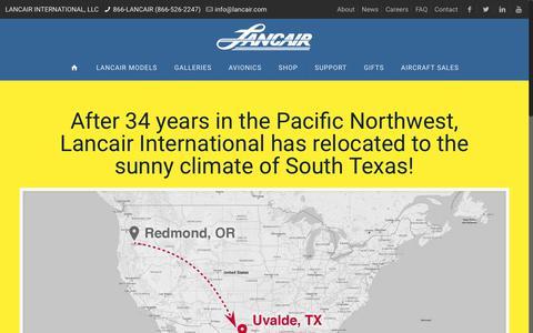 Screenshot of About Page lancair.com - ABOUT   Lancair International, LLC - captured July 14, 2017