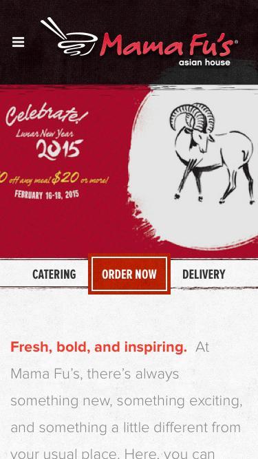Screenshot of Home Page  mamafus.com - Home - Mama Fu's Asian-Style Restaurant & Catering - Mama Fu's