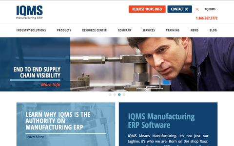 Screenshot of Home Page iqms.com - IQMS Software | Manufacturing ERP Solution - captured March 3, 2016