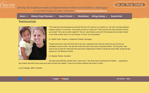Screenshot of Testimonials Page hopeclinicinternational.org - Testimonials | Hope Clinic International - captured Oct. 27, 2014