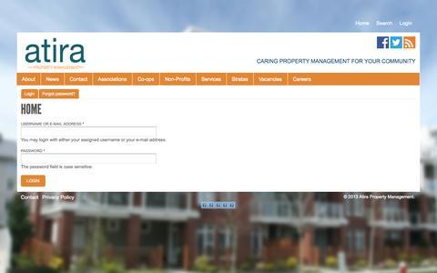 Screenshot of Login Page atira.ca - Home | Atira Property Management - captured Oct. 4, 2014
