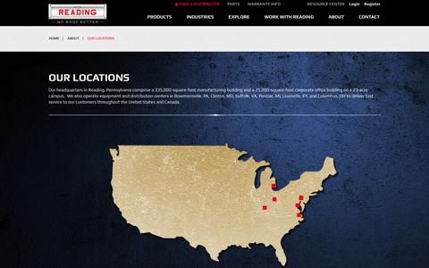 Screenshot of Locations Page readingbody.com - Manufacturing Locations | Reading Truck Body - captured Jan. 17, 2016