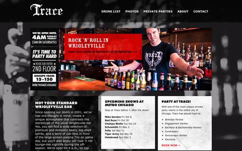 Screenshot of Home Page tracechicago.com - Wrigleyville Bar - Bars in Wrigleyville Chicago | Trace Chicago - captured Oct. 24, 2017