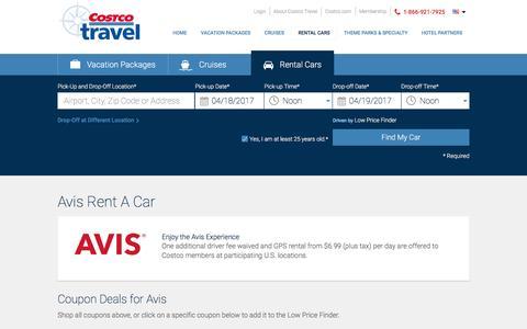 Avis Rent A Car at Costco Travel