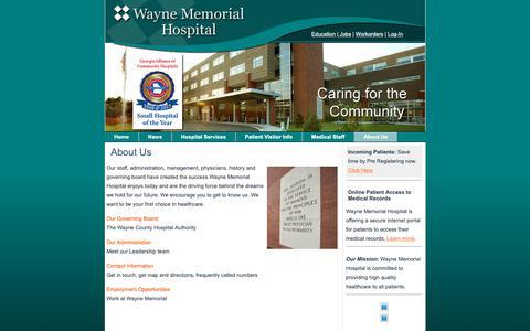 Screenshot of About Page wmhweb.com - About Us - Wayne Memorial Hospital - captured Nov. 1, 2018
