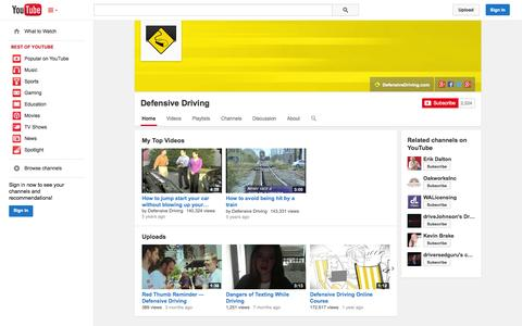 Screenshot of YouTube Page youtube.com - Defensive Driving  - YouTube - captured Nov. 3, 2014