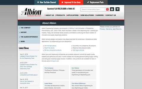 Screenshot of About Page albioneng.com - About Albion Engineering a dispensing gun and adhesive application equipment provider for over 80 years. | Albion Engineering - captured Oct. 3, 2018