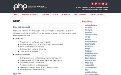 Screenshot of Jobs Page phpattorneys.com - Careers | Prochaska, Howell & Prochaska LLC - captured Nov. 21, 2017