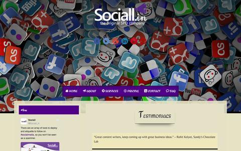Screenshot of Testimonials Page sociall.in - Testimonials - - captured Dec. 18, 2016