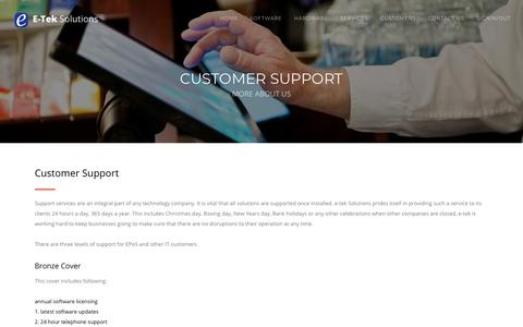 Screenshot of Support Page e-tekltd.com - E-tek Solutions - captured Feb. 22, 2018