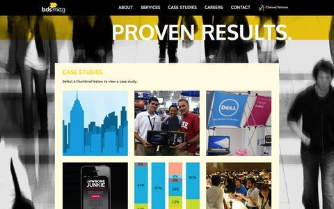 Screenshot of Case Studies Page bdsmktg.com - Case Studies   BDSmktg - captured Sept. 23, 2014