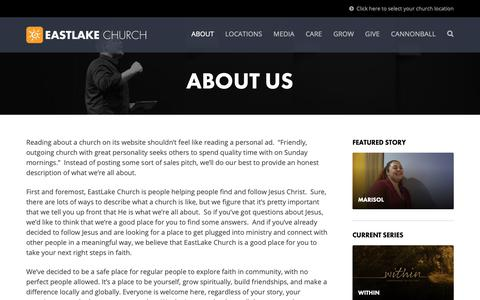 Screenshot of About Page eastlakechurch.com - About Us | EastLake Church - captured Nov. 4, 2018