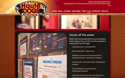 Screenshot of Press Page hautedogsandfries.com - Press | Haute Dogs & Fries | The Best Hot Dogs In Virginia | Purcellville & Alexandria Restaurants - captured Jan. 27, 2016