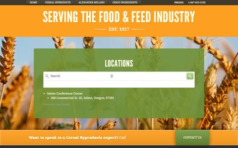 Screenshot of Locations Page cerealbyproducts.com - Cereal Byproducts - captured Oct. 2, 2014