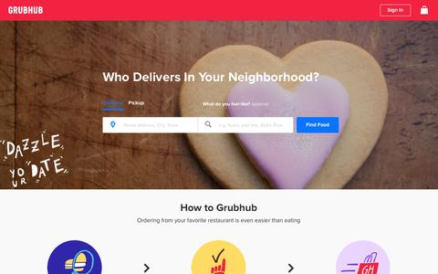 Screenshot of Home Page grubhub.com - Food Delivery | Restaurant Takeout | Order Food Online | Grubhub - captured Feb. 13, 2016