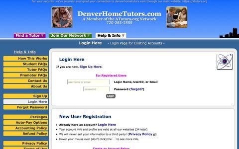 Screenshot of Login Page atutors.org - DenverHomeTutors.com: Login Here - Login Page for Existing Accounts - captured Nov. 24, 2016