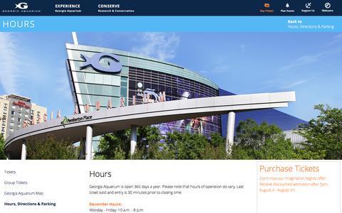 Screenshot of Hours Page georgiaaquarium.org - Hours | Visit | Georgia Aquarium - captured Dec. 8, 2015