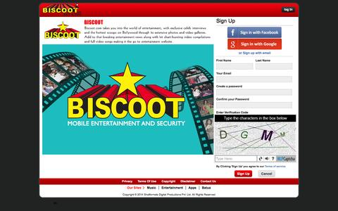 Screenshot of Signup Page biscoot.com - Biscoot - captured Jan. 14, 2016