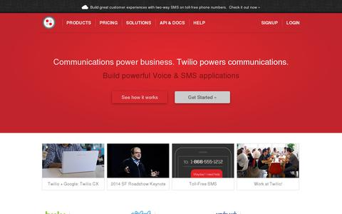 Screenshot of Home Page twilio.com - Twilio Cloud Communications - APIs for Voice, VoIP and Text Messaging - captured July 11, 2014