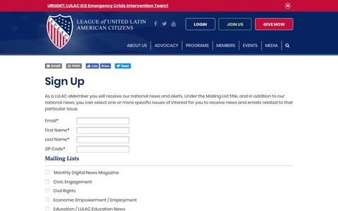 Screenshot of Signup Page lulac.org - Sign Up - captured Sept. 27, 2018