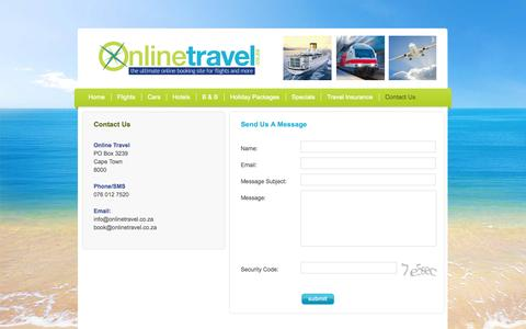 Screenshot of Contact Page onlinetravel.co.za - Online Travel - Welcome - captured Oct. 9, 2014