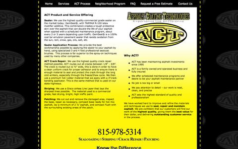 Screenshot of Services Page asphaltcoatingtechnologies.com - Welcome to Asphalt Coating Technologies - captured Oct. 4, 2014